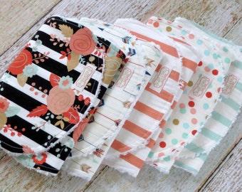 Baby Burp Cloths - Baby Girl Burp Cloths - Mix and Match Burp Cloths - Arrow Burp Cloth - Flower Burp Cloth - Stripe Burp Cloths