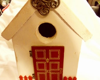 Decorated Bird house with upcycled accessories