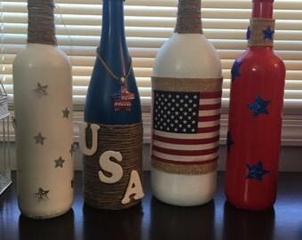 July 4th Wine Bottle Decor
