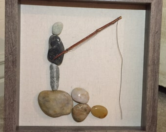 Pebble Art Mixed Media Collages- THE ANGLER