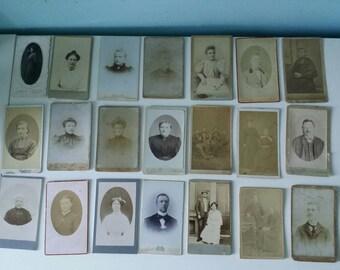 SALE! 21 pcs French cdv's carte de visite old antique photographs collectible caninet cards