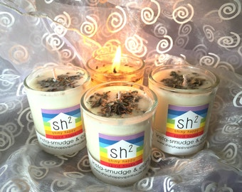 Candle! Insta-Smudge and Calm in a Candle. Coconut Wax Candle with Lavender and Sage for Smudging and Calming!
