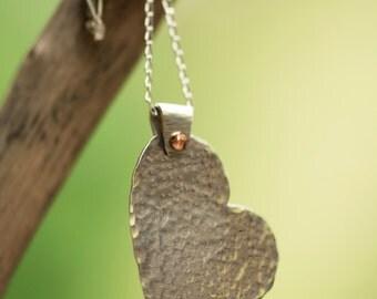 Sterling Silver Hammer Textured Heart Pendant