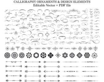 Calligraphy Flourish Clipart Calligraphy Design Elements Ornament Clipart Laurel Wreath Clipart Clip Art PNG Vector PDF EPS Instant Download