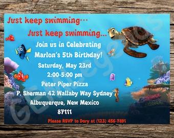 Finding Nemo Birthday Invitation, Finding Nemo Party, Finding Nemo Invitation Printable, DIGITAL DOWNLOAD