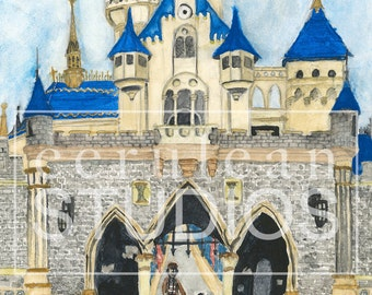 Doing the Impossible, Disneyland Castle Watercolor Print, Disneyland Artwork, Walt Disney and Mickey Print, Sleeping Beauty's Castle Poster