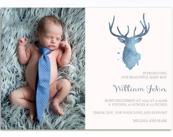 Watercolor Birth Announcement - Printable Birth Announcement - Baby Boy Birth Announcement - Watercolor Deer Announcement - BA12