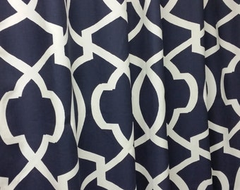 Morrow geometric shower curtain, navy blue and white 72W x 84L cotton