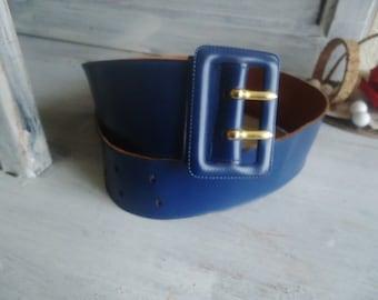 Blue leather belt,  vintage leather belt for women,