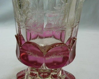 Rare/clear and cranberry Bohemian Beaker