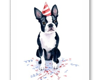 Boston Terrier Birthday Card - 6-pk Note Cards - Watercolor Painting