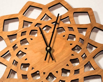 Laser Cut Cherry Clock / Geometric Decorative Wall Clock