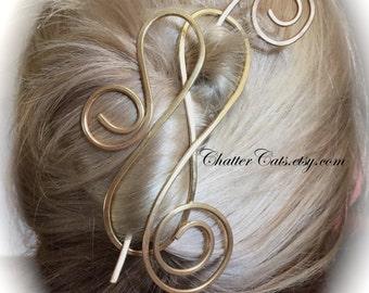 Brass Hair Barrette Chignon Bun Holder Brass Hair Slide Gold Hair Clip Hair Pin Hair Stick Fork Gift for Women ChatterCats