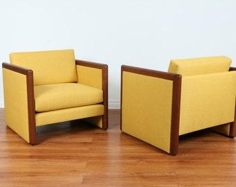 Mid Century Club Chairs (yellow)