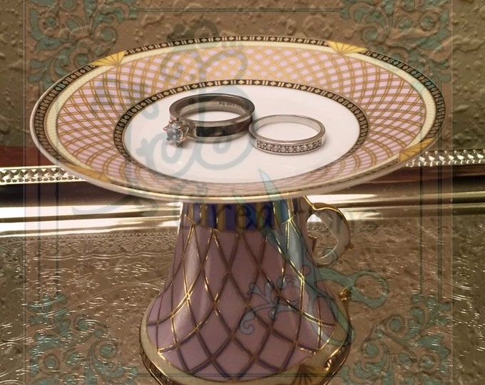 Custom Ring/Jewelry Dish Gold Trim Vintage Jewelry Holder