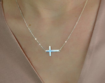 Cross Necklace, Sterling Silver cross necklace, silver cross necklace, gold cross necklace, rose gold necklace, minimalist necklace