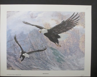 Remington Art Print BALD EAGLE & Canada Geese at Horicon Marsh By Tom Beecham