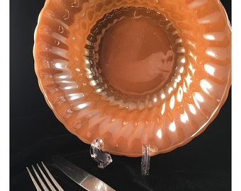 LAST CHANCE SALE Serving Bowl, Peach Luster, Swirl pattern by Fire King for Anchor Hocking; vintage milk glass