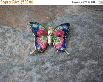 ON SALE Vintage 1950s Colorful Enamel Butterfly Pin 72116