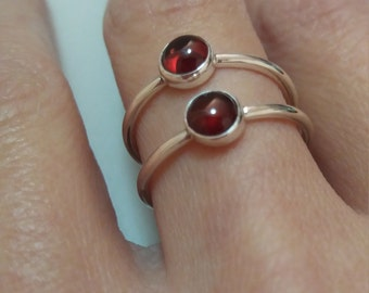 Garnet silver stacking ring, bands, simple silver ring, stone ring, january birthstone, bezel set ring , red stone ring