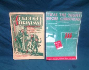Rare Vintage Christmas Sheet Music 1909 Scrooge's Christmas 1945 'Twas the Night Before Christmas