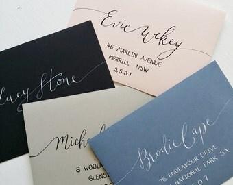 Envelopes with beautiful White or Black Ink Modern Calligraphy, wedding, birthday