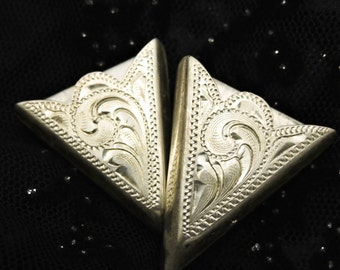 Collar Tips Vintage Sterling Silver,Southwestern Collar Tips