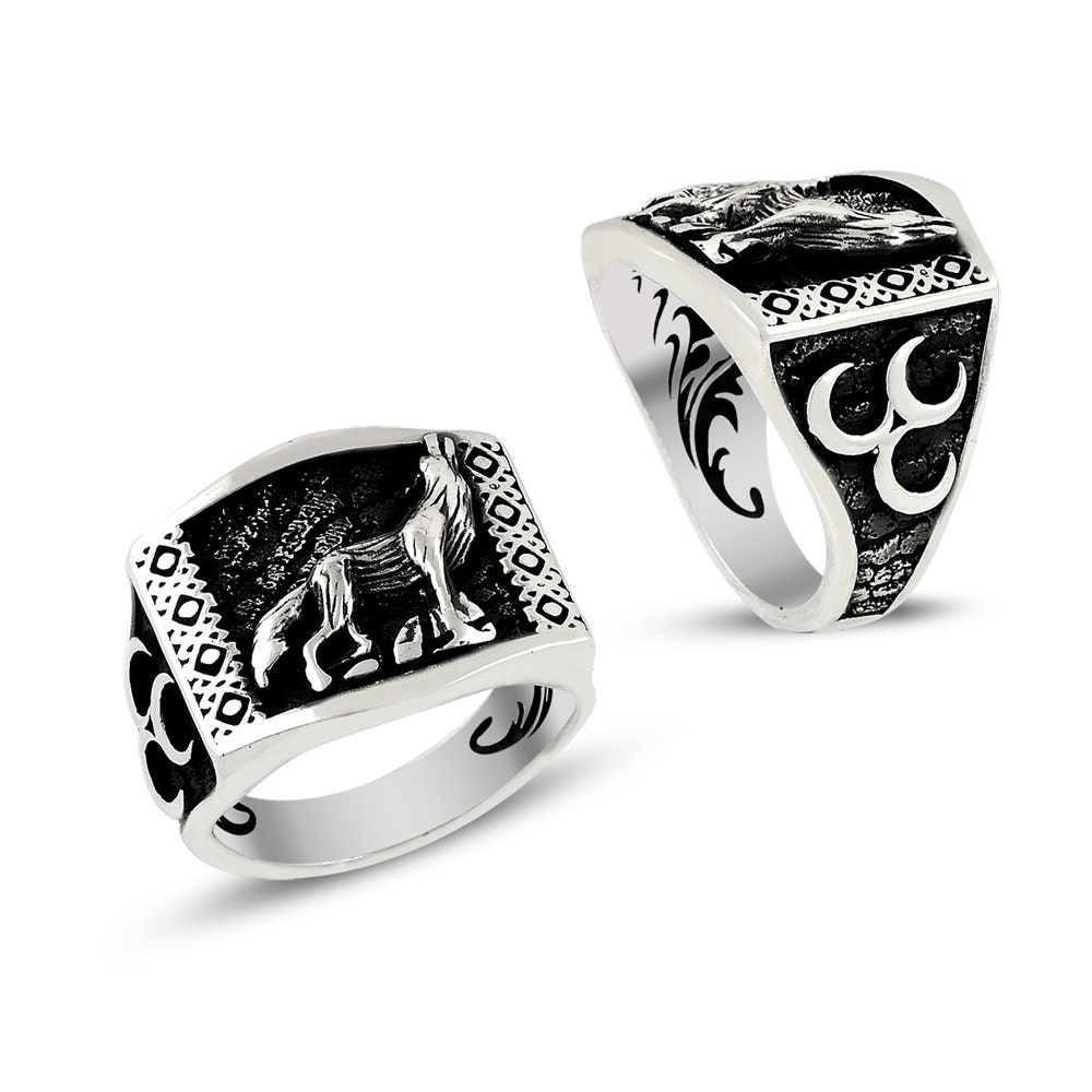 mens silver wolf rings islamic jewelry 925k by