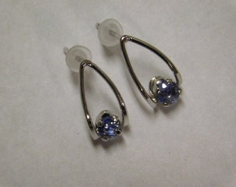 Vintage Sterling Silver And Topaz Earrings