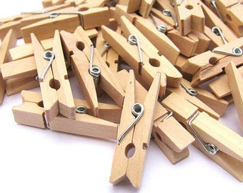 50pcs Mini Pegs in Natural Wood / 35mm Wooden Clothes Pins / Clothes peg CP003