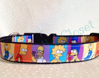 Simpsons Portrait Style Unofficial Dog Collar