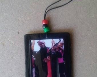 Khalid Abdul Muhammad wood RBG pendant with adjustable length cord