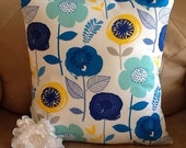 "Pillow Cover, Throw Pillow Cover, Decorative Pillow Cover, 16X16"" Pillow, Blue Yellow White, Ready to Ship, Under Ten Dollars, Gift for Her"