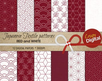 Japanese Pattern Digital Paper Printable Traditional Patterns Red and White 12pcs 300dpi Instant Download Collage Sheets Scrapbooking