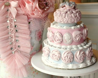 """Fake Cake wedding topper princess pink white roses  """"Baby"""" shabby chic tea party"""