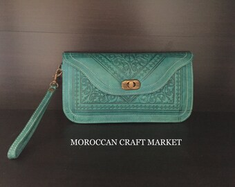 Moroccan Leather Large Clutch