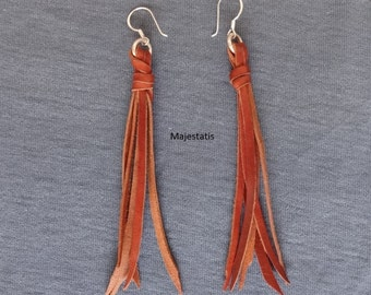 boho leather tassels earrings D, silver hooks leather tassels brown leather fringes earrings for womens ladies gift for her silver n leather