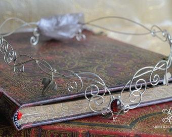 Handmade Sterling Silver Sherwood Circlet - Medieval/Elven Fantasy Circlet - Gemstone Set