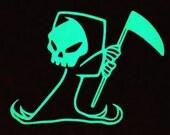 Grim Reaper Glow in the Dark Decal / Sticker - Kawaii - Macbooks, iPhones, iPad, Tablet, Halloween, Car Windows
