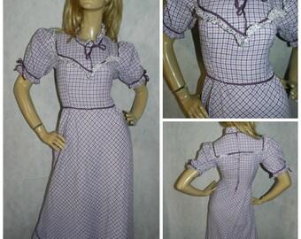 Vintage 70s Purple/white check floral trim VICTORIANA PRAIRIE Maxi dress 6-8 Xs 1970s BOHEMIAN Ribbon trim