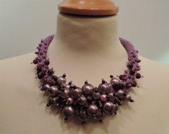 Handmade crochet beaded violet necklace