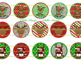 Christmas Reindeer 1 inch Bottle Cap Images, cupcake toppers, circles