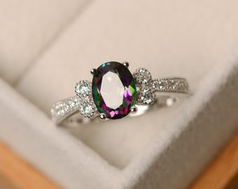 Mystic topaz ring, oval cut, sterling silver, rainbow topaz
