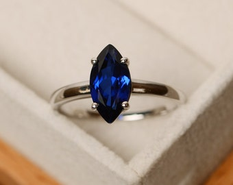 Marquise cut ring, sapphire ring, blue sapphire, solitaire ring