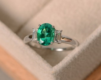 Lab emerald ring, May birthstone, three stone ring, oval emerald, sterling silver, engagement ring