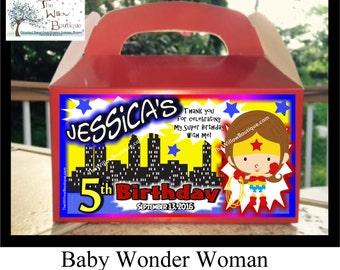 Personalized Baby WonderWoman BIRTHDAY Goody Treat Favor Box
