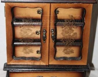 Wooden Glass Door Jewelry Box Chest