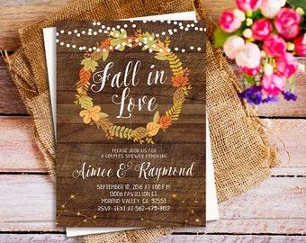 fall in love couple shower invitation, falling in love couple shower, autumn couple shower invitation, autumn fall invitation, digital file