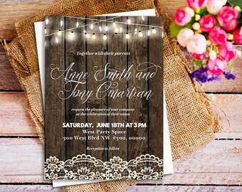 Country Wedding Invitation, lace wood wedding invitations, barn wedding, string light wedding invitations, string light wedding invitations