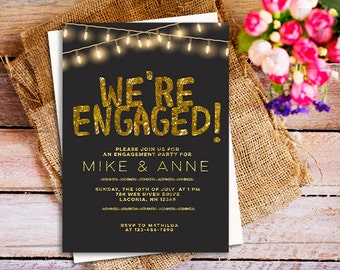 Gold engagement Party invitations, Black and Gold engagement Party Invitation, Sparkle Engagement Invites, Glitter Engagement Invitation